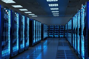 Network and internet communication technology concept, data center interior, server racks with telecommunication equipment in server room – © Cybrain - Fotolia.com