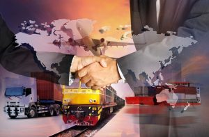 Global business of Container Cargo freight train for logistic import export, Business logistics concept, Air cargo trucking, rail transportation, maritime shipping, On-time delivery – © sittinan - Fotolia.com